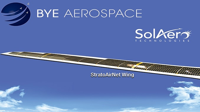Bye Aerospace, SolAero Technologies Announce Completion and Delivery of First Solar Wing for Bye's StratoAirNet UAV