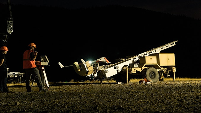 ScanEagle poised for launch at Eagle Creek, Oregon fire