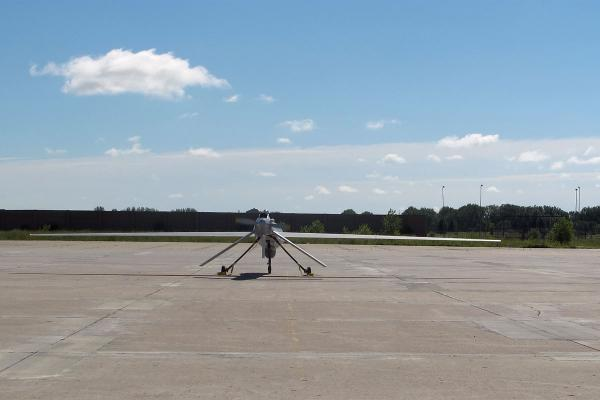 A Predator drone is put through pre-flight tests at the Grand Sky business and technology park Wednesday, July 27, 2016 in Grand Forks, N.D. (AP Photo/Dave Kolpack)
