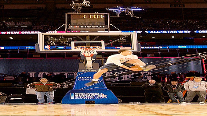 NBA forward Aaron Gordon practices with Intel's AscTec Neo drone