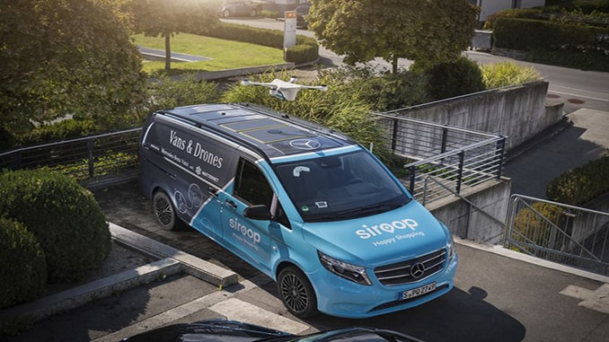 Delivery drone above a Mercedes-Benz Vito van