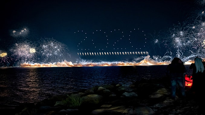 SKYMAGIC And Fireworks By Grucci Join Forces To Deliver A Record-breaking PyroDrone Show Performance.