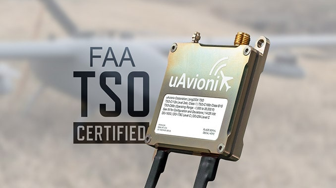 uAvionix ping200X is the World's First FAA TSO Certified Drone Transponder