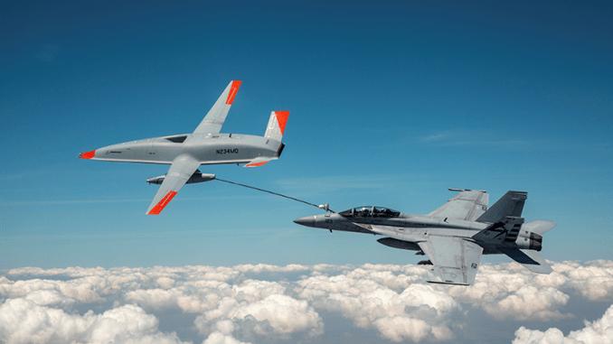 MQ-25A Unmanned Aerial Tanker Refuels Super Hornet in Successful First Test