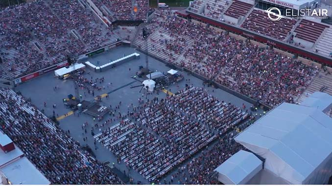 Elistair's Orion 2 Tethered UAV deployed by our partner CloudCover to contribute to the safety of fans at the Guns N' Roses concert in Montana